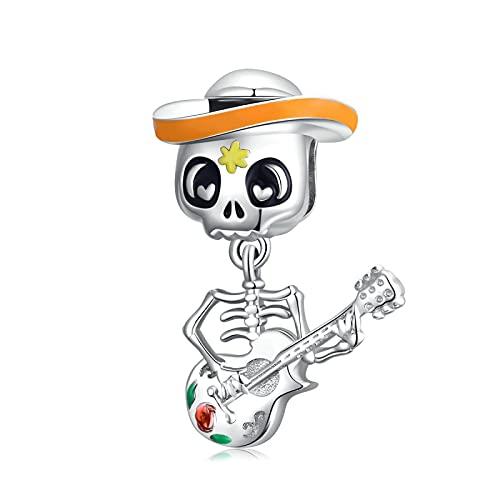 Hombre Calavera con Guitarra Colgante De Plata De Ley 925 para Pulsera Original Brazalete con Cuentas Regalo De Mujer Fabricación De Joyas DIY Cuentas Sueltas