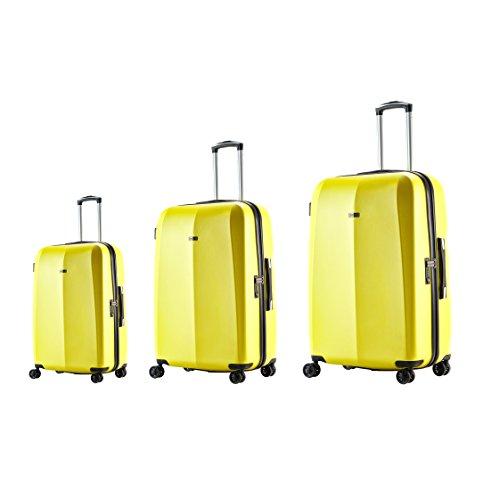 100% Polycarbonat ABISTAB Kaiseki Premium Hartschale Kofferset 3 teilig große Koffer mit Handgepäck S-18,5