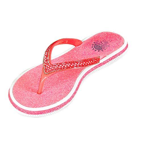 PERLETTI Flip Flops Damen mit Glitzer - Sommer Zehentrenner Pantoletten für Kinder Mädchen - Farbige Badelatschen Modisch Glitter - Bade Strand Haus Schuhe Schlappen für Frauen (Pink, Numeric_40)