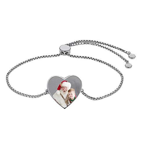 Pulsera personalizada en forma de corazón Pulsera con foto personalizada Versión Pulsera con texto grabado Pulsera de moda(Plata a todo color 6.5IN=16.5cm)