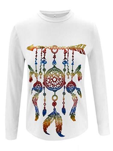 Vrouwen Tops Unisex T-Shirt bedrukken ronde hals trui aantrekken Fles Pullove All-Over (Color : White, Size : L)