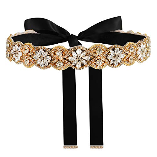 Yanstar Handmade Wedding Bridal Belts and Sashes Gold Crystal Rhinestone Black Ribbon Belt for Wedding Bridesmaid Prom Gowns