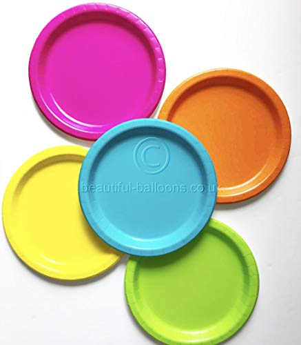 Beautiful Balloons 40 x 9 inch Neon Paper Party Plate Range disco fluorescent