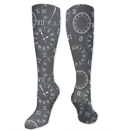 Clock Faces Roman Numerals Funny Athletic Socks Best Knee High Socks For Women And Men Running Travel