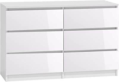 White Gloss 6 Drawer Chest.Bedroom Furniture Large 3 3 Chest of Drawers. 120cm Wide