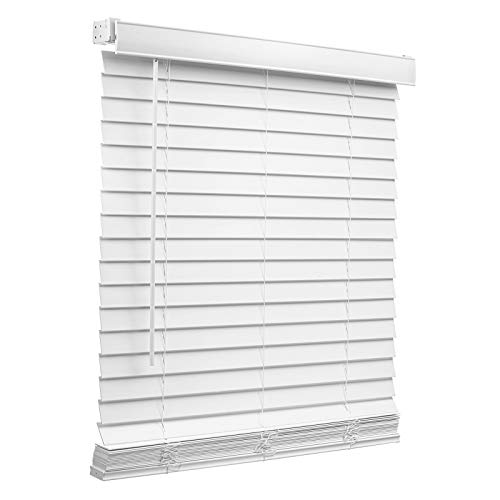 """Changshade Cordless 2"""" Faux-Wood Horizontal Blind with Tilt Wand, Vinyl Horizontal Window Blind for Day and Night, Light Filtering, Non-Leaded PVC Slats, 32 inches Wide, White BLD32WT64B"""