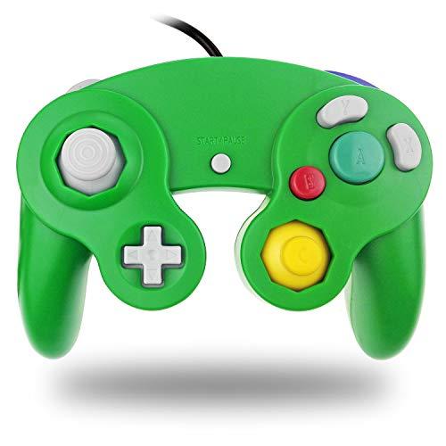 TechKen Controller Cablata Classico Controller Joypad Gamepad Joypad Dual Vibration NGC Gamepad Controller Giochi Originali per GC e Wii (Silver)