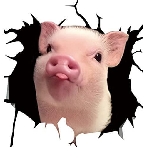Tier Riss Autoaufkleber, Kreative Autofenster Schweinchen Elektrostatischer Aufkleber, PVP Glasscherben Schwein Aufkleber 11,8 x 11,8 Zoll Autofenster Aufkleber (F)
