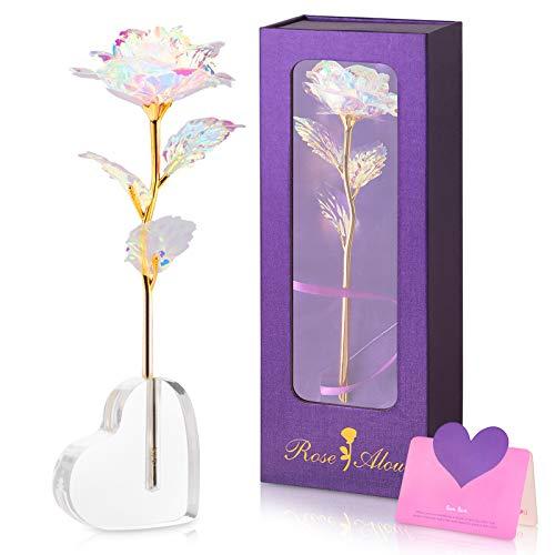 Siebwin Rosa Eterna, Rosa Flor 24K de chapada Oro de, adecuadas para el día de San Valentín, el día de la Madre, Regalos para Mujeres Madres
