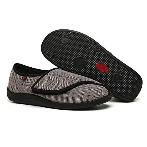Diabetische wandelschoenen voor heren Ademende sneakers, verstelbare brede klittenbandschoenen met brede voet, verbreding van de vervorming die de verpleging verbreekt - bruin_40, Diabetische pantoff