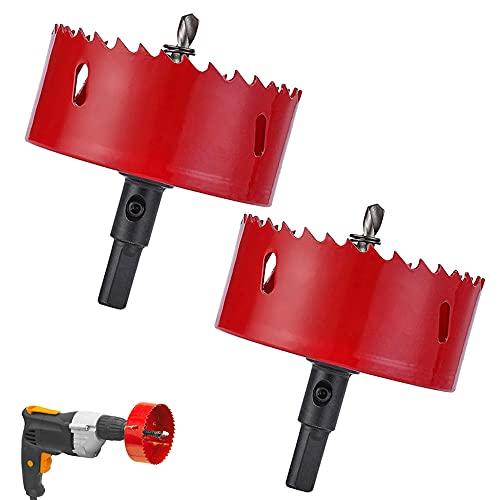 2 stuks Bi-Metaal Gatenzaag, Boorgat Snijgereedschap, M42 Bimetaal Gatenzaag, Bi-Metaal Gatenzaag Opener voor IJzer Aluminium, Hout, Gipsplaten, Pijp, Kunststof, Vezelplaat (rood)