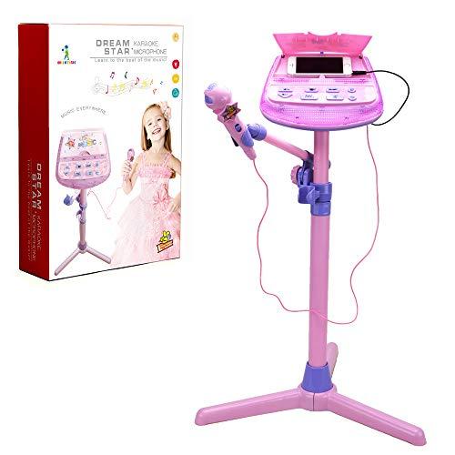 Wishtime Juguete Musical para niños con micrófono de Karaoke ZM16038 Kids Rosa Karaoke Ajustable Soporte con función de música Externa y Luces Intermitentes Juguete para niños niñas