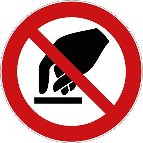 10 Aufkleber Berühren verboten Aufkleber (10 Stück) 95 mm vorgestanzt mit Hochglanz-Lack selbstklebendSchild überkleben, Berühren Verbotszeichen Arbeitssicherheit Verbot Aufkleber Verboten P010