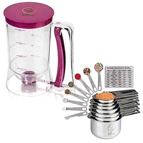 KPKitchen Pancake & Cupcake Batter Dispenser and Stainless Steel Measuring Cups and Spoons Set of 14 - Perfect for Waffles, Cakes, Crepes or Any Baked Goods - 7 Cup and 7 Spoon Metal Measure Sets