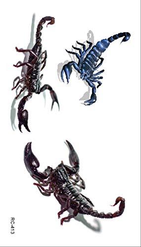 WFQ tatuaggio Spider Tatoo Scorpion Temporary Tattoo Stickers For Halloween Fake Tattoo Body Art Joke Rc-416