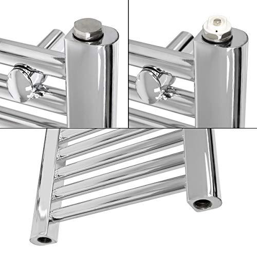 ECD Germany Radiador toallero de baño 400 x 1800 mm cromo - curvado - con conexión lateral - radiador toallero calefactor mural - secador de toallas