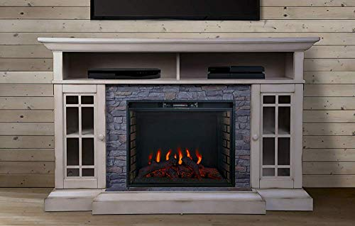Bennett Infrared Electric Fireplace TV Stand, Farmhouse Ivory - ASMM-017-2866-S404-T