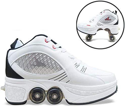 YPYGYB Schlittschuhe Flaschenzugschuhe Multifunktionale Verformungsrollschuhe Quad-Skating Outdoor-Sportarten Für Erwachsene Rollschuhe Kinder Verstellbar,White-39