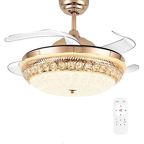 Ventilateur de plafond ZHAOSHUNLI Invisible Lumière Vitesse de Variation du Restaurant Restaurant Chambre à Coucher Simple Conversion de fréquence Cristal Salon Maison à Vent 42