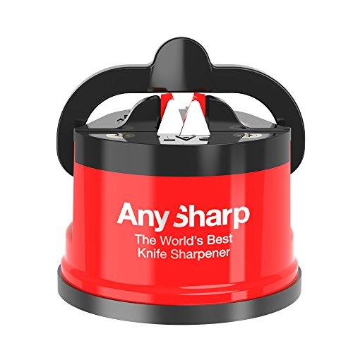 AnySharp Afilador de Cuchillos con Ventosa, Rojo