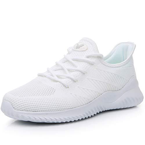JARLIF Men's Memory Foam Slip On Walking Tennis Shoes Lightweight Gym Jogging Sports Athletic Running Sneakers (White 11-12 D(M)