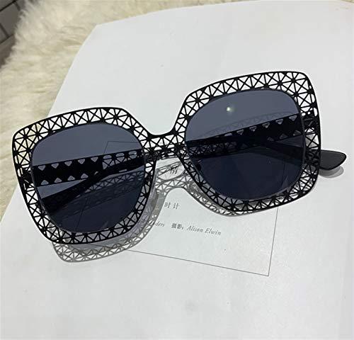 SSN Moda Gafas De Sol Metal Hollow Ultralight Sunglasses Net Red Big Box Gafas Personalizadas