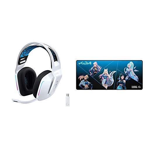 Logitech G733 K/DA Lightspeed Kabelloses Gaming-Headset + G840 K/DA XL Gaming-Mauspad aus Stoff - 3 mm dünne