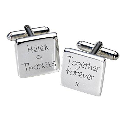 "MugsnKisses Tasse personnalisable Inscription ""Forever Together-Boutons de manchette Homme-Carré"