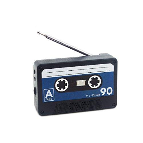 Balvi Radio Play Color Negro En Forma de Cassette Vintage Radio portatil FM para Colocar en la Nevera o estanterías magnéticas Radio diseño Original 6,5x10x3 cm
