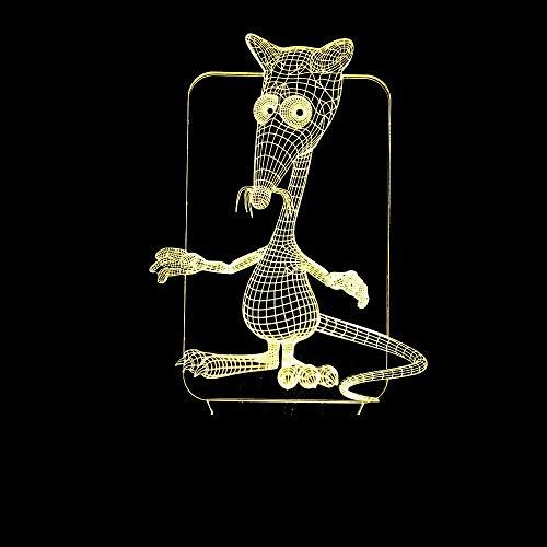 L.W.S Lámpara de Escritorio Ratón de Dibujos Animados luz LED gradiente de Colores Control Remoto táctil 3D luz de Noche USB mesita de Noche bellamente Decorada Regalo de Cumplea?os 20 * 13 cm
