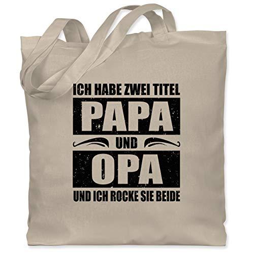 Shirtracer Vatertagsgeschenk - Ich habe zwei Titel Papa und Opa/simpel - schwarz - Unisize - Naturweiß - XT600_Jutebeutel_lang - WM101 - Stoffbeutel aus Baumwolle Jutebeutel lange Henkel