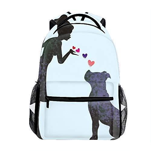 Laptop Backpacks Graphic Design Girl And Pit Bull Girls Women Travel Daypack Bag