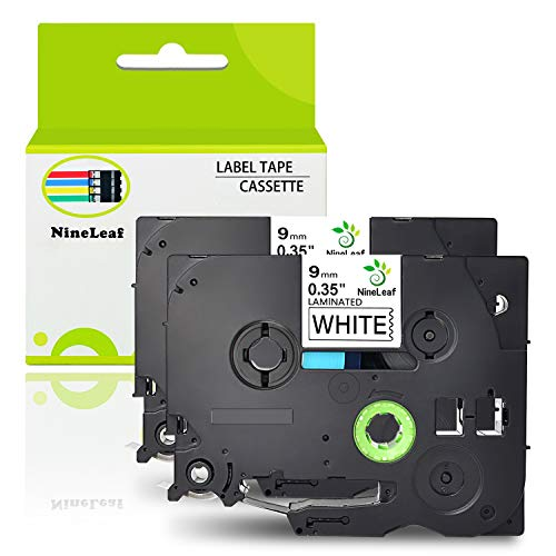 NineLeaf 2 Pack Replacement TZe-221 TZ-221 TZ221 Label Tape Black on White Standard Laminated Tapes 9mm Compatible for Brother P-Touch PT-D210 PTD400AD PTH110 Labeler Label Maker 0.35 Inch x 26.2 Feet