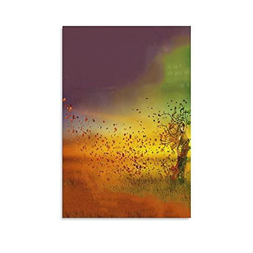 FENGLANG Pintura de acuarela lienzo arte de pared para sala de estar dormitorio cartel impresiones mujer hierba tonos otoño decoración regalo 16 × 24 pulgadas (40 × 60 cm)