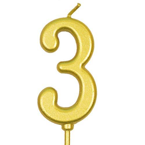 Wpond Candele di compleanno, 1 pezzo di candela, senza fumo, dorate, decorazione per torta per feste di compleanno, festa numero 3