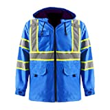 Thick Windproof Raincoat Blue Blazer Safety & Protective Visibility Jacket with Fleece Liner, ANSI Class 3 Waterproof Construction Warm Work Wear (S, With Padding)
