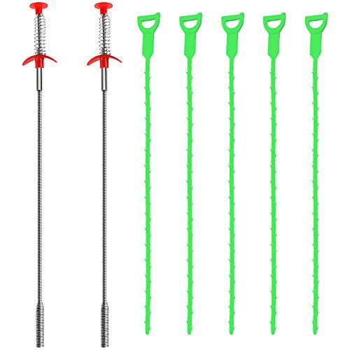 SENHAI 7 Stück Kanalisationswerkzeuge, 50,8 cm Abflussreiniger, Verstopfungsentferner, Abfluss-Entlastung, Schneckenreinigungswerkzeug (2 Edelstahl und 5 Kunststoff)