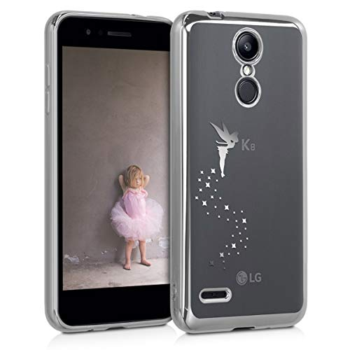 kwmobile Crystal TPU Case Compatible with LG K8 (2018) / K9 - Case Soft Flexible Transparent Silicone Cover - Fairy Silver/Transparent