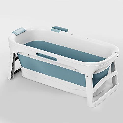 CKRBACY Faltbare Badewanne Erwachsene Tragbarer Badewanne für Erwachsene Große Kunststoff Folding Badewanne Erwachsener Große Kunststoff-Badewanne für Dusche 135x62x54cm,Blau