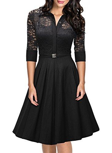 MIUSOL Damen Spitzen 3/4 Aermel Elegant Revers Cocktailkleid 1950er Jahre Faltenrock Party Kleid Schwarz XL