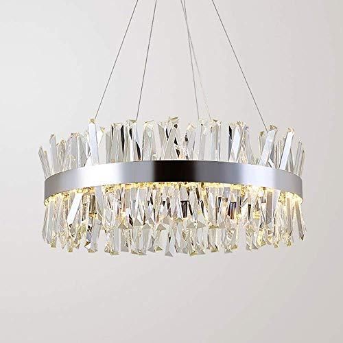 Kroonluchter Eenvoudig te installeren Moderne Crystal Woonkamer LED Kroonluchter Zilver Led Woonkamer Slaapkamer Restaurant Hotel Ronde Eettafel Bar Plafond Lamp Grootte 60X60X30Cm Mooi