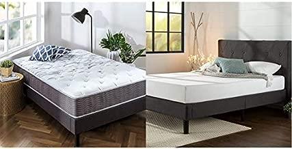 Zinus 10 Inch Support Plus Pocket Spring Hybrid Mattress, Full & Shalini Upholstered Platform Bed Frame/Mattress Foundation/Wood Slat Support/No Box Spring Needed, Dark Grey, Full