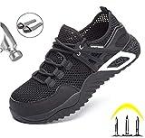 Zapatos con Punta De Acero Zapatos De Seguridad Laboral para Hombres Y Mujeres Seguridad Antideslizante Transpirable Seguridad Al Aire Libre Calzado De Construcción Industrial,Negro,37
