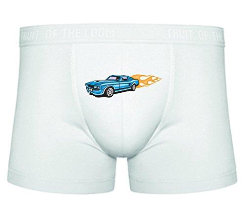 Boxershort Blauer Hotrod Mustang mit gelben Flammen America Amy USA Auto Car Breitbau V8 V12 Motor Felge Tuning Mustang Cobra S- XXL Sexy Unterhose Slip Shorts