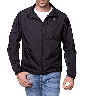 TRAILSIDE SUPPLY CO. Mens Windbreaker Jackets Lightweight Packable Jacket,Windproof and Dustproof Black Size Large
