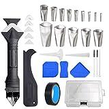 mooderf Juego de herramientas de silicona para juntas de silicona, 11 unidades/32 piezas, juego de herramientas de sellado con rascador/removedor de sellado/boquilla, perfecto para la cocina
