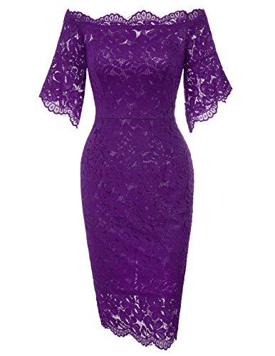 GRACE KARIN Women Homecoming Christmas Party Lace Dress L Purple