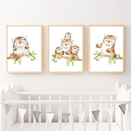 WTYBGDAN Woodland Animal Wall Art Canvas Print Cute Owl Family Poster Baby Nursery Pintura de Dibujos Animados Niños nórdicos Decoración de Dormitorio Infantil | 30X50cmx3Pcs | Sin Marco