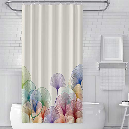 CENYUO Shower Curtain with Hooks Colorful Ginkgo Leaves Bath...