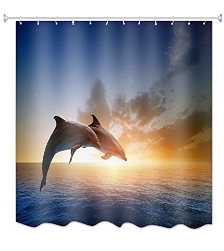 A.Monamour Duschvorhang Wasserdicht Antischimmel Waschbar Stoff Delphin Paar Springt Vom Blauen Ozean Bei Sonnenuntergang Textil Polyester Badezimmer Bad Badewanne Vorhang mit Haken 150x180 cm